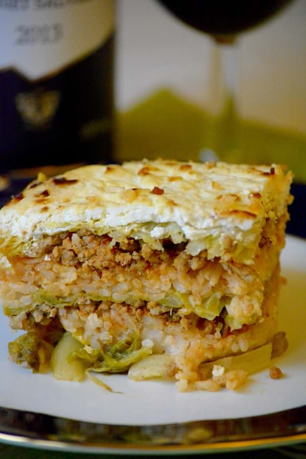 Hungarian layered savoy cabbage casserole