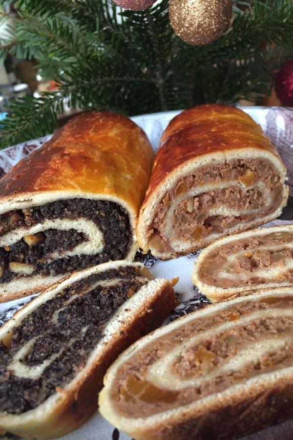 Hungaraian Christmas wanut and poppy seed rolled cake, beigli