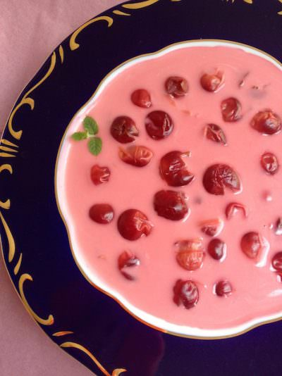 Hungarian chilled sour cherry soup, hideg meggyleves