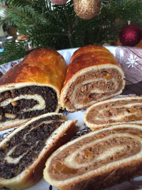 Hungarian Christmas walnut and poppy seed rolled cake, Beigli