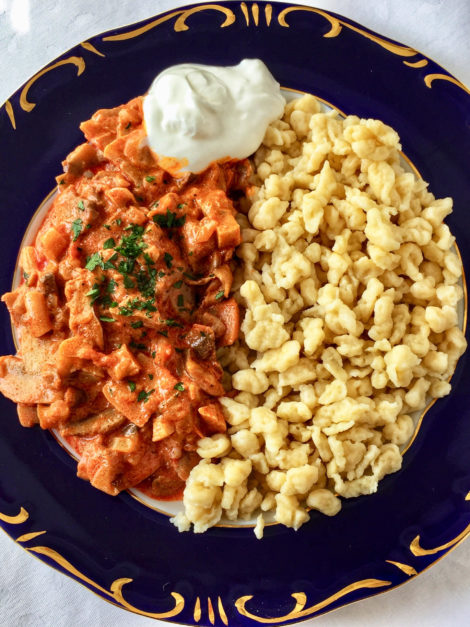 Hungarian mushroom paprika with spaetzle recipe.
