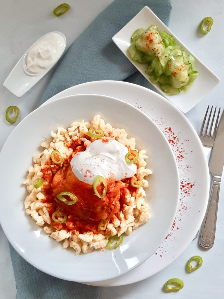 Hungarian chicken paprika with spaetzle